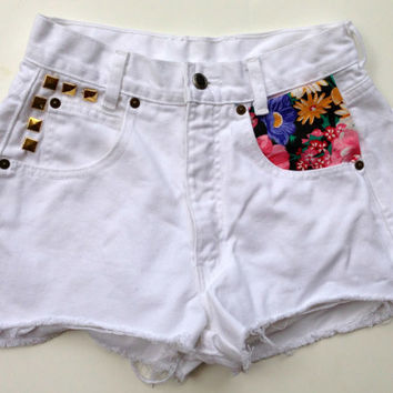 White High Waisted Denim Shorts Studded Floral Jean Shorts