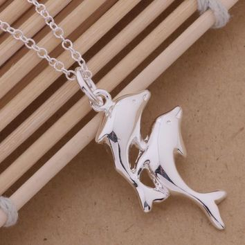 Double dolphins bright silver plated necklace for women silver pendant Jewelry free shipping lovely gifts Jewellery GY-AN359