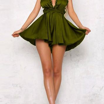 Green Tie Back Spaghetti Strap Off Shoulder Pleated Ruffle Backless Party Mini Dress