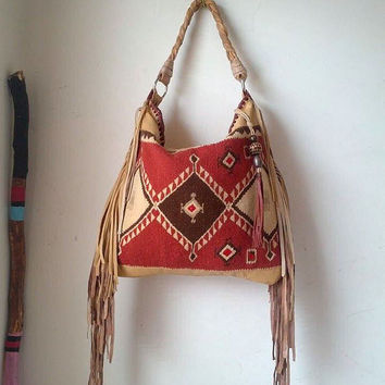 Southwest southwestern bag bohemian tribal kilim blanket carpet hobo bag aztec navajo fringed leather bag woven kilim for free people purse