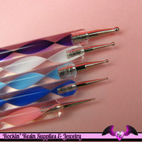 5 pc 2 Sided NAIL ArT DOTTiNG TOOL Modeling, Painting, Miniature, and Sculpting Polymer Clay Metal Ball Helix Stylus