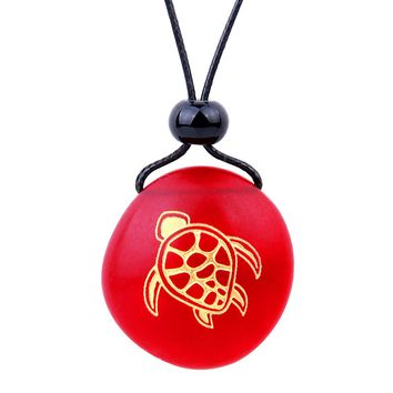 Amulet Frosted Sea Glass Stone Adorable Magic Turtle Good Luck Powers Royal Red Adjustable Necklace