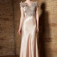 Champagne Long Satin Elegant Formal Prom Evening Dress with Keyhole Back | CX830905