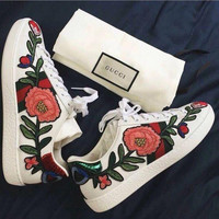 Gucci Fashion Embroidery Flower Flats Low-Top Sneaker Shoes