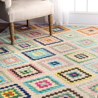 nuLOOM Hand Tufted Tribal Diamond Orval Area Rug