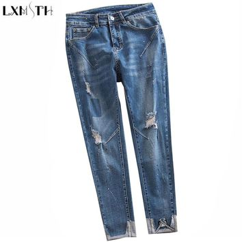 LXMSTH 26-40 Large Size Women jeans 2018 New Arrival Hole High Waist Loose jeans Woman Casual Ankle Length Pants Ripped Trousers