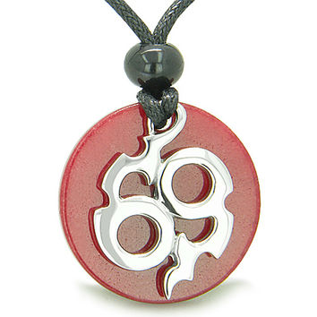 Amulet Infinity Symbol Magic Fire Energy Red Quartz Good Luck Pendant Necklace