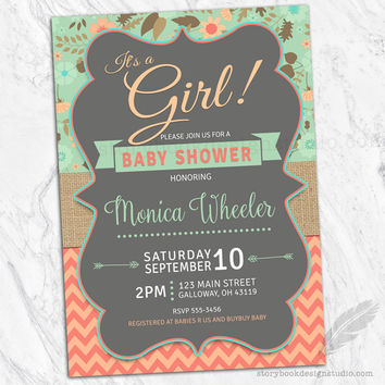 It's a Girl Mint and Coral Floral Burlap Baby Shower Invitations