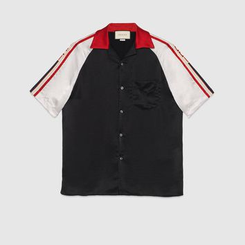Gucci - Acetate bowling shirt with Gucci stripe
