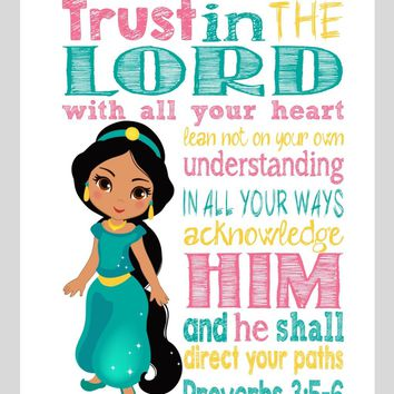 Jasmine Christian Princess Nursery Decor Wall Art Print - Trust in the Lord with all your heart - Proverbs 3:5-6 Bible Verse - Multiple Sizes