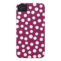Maroon White Polka Dots Pattern iPhone 4 Cover from Zazzle.com