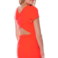 Go Back Across Dress in Neon Coral :: tobi