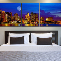 XX Large Canvas Print Dallas Skyline at Night 3 Panel - Framed - Streched Dallas Panorama Canvas Printing
