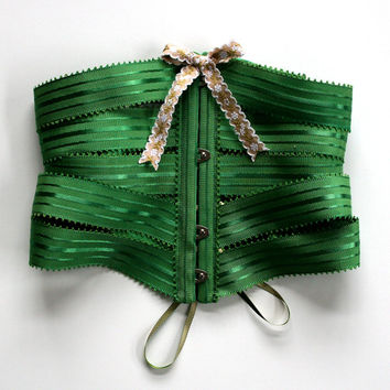 Corset Cincher Belt Ribbon / Emerald Green Satin Stripe Petersham / Large - TEELA Ribbon Corset Ready-to-Ship OOAK