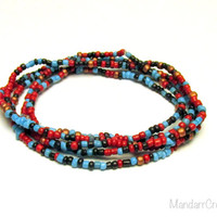 Seed Bead Bracelets, Set of Five, Red Brown, Blue, Gold, 7 inches, Stretchy Jewelry