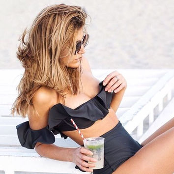 Black Off-Shoulder High Waist Bikini