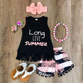 Baby Girl T-Shirt + Shorts with Headband Outfit 3 Piece Set