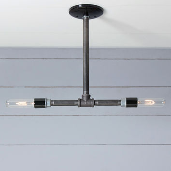 Industrial Black Pipe Light - Double Bare Bulb Pendant- Black Iron