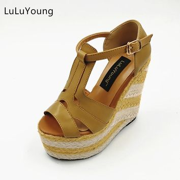 Women wedges 13.5cm high heels sandals Straw heel shoes Casual platform shoes open toe sy-1119