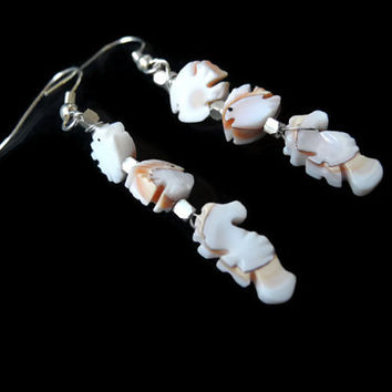 Pink white earrings, handmade beaded fish shape dangle earrings of mother of pearl and silver, 925 silver earhooks