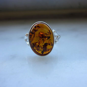 Sterling amber ring 925 amber ring silver amber ring sterling amber jewelry vintage amber ring Baltic amber ring amber jewelry clearance