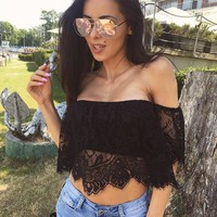 Women's Fashion Summer Short Sleeve Crop Top Lace T-shirts [775237992564]
