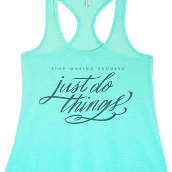 Women's Regular Just Do Things Printed Graphic Polyester Tank Top
