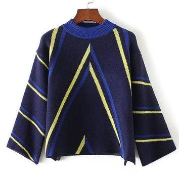 ESBONG Korean Round-neck Stripes Pattern Sweater Pullover Knit Jacket [8940803463]