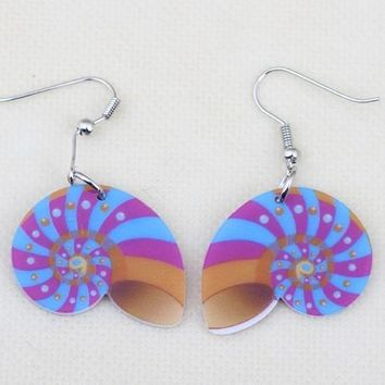 Conch sea snail lovely cute printing drop earrings acrylic new design spring/summer style girl woman jewelry fashion