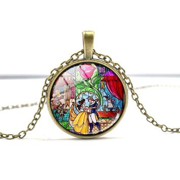 Newest Lovely Accessories Personality  Necklace Glass Picture Pendant Selling Cute Beauty and the Beast Necklace