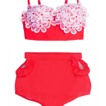 Swimwear, Swimsuit, Bathing suit, Red Lace Daisy Top and Cut out Pin Up Bottom Bikini 2PC Swimwear Swimsuit Swim Bath Bathing suits wear L