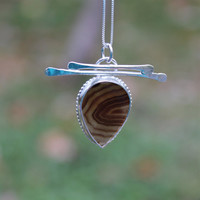 Agate sterling silver pendant. Asian inspired. Brown stripe agate. Wood grain look. Big stone necklace. Pear shape stone. OOAK