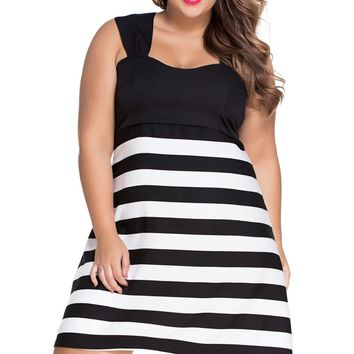 Black And White Block Stripe Big Girl Skater Dress
