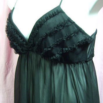 Chiffon Night Gown, Sexy Baby Doll, Sheer Black, Ruffle Bodice, Size XL Extra Large, Flora Nikrooz, Bridal Honeymoon, Resort Cruise Wear