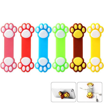 Novelty Paw Pattern Silicone Flexible Sucker Stand Holder = 1841867588