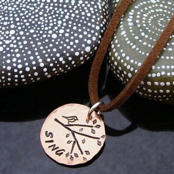 "D2E hammered hand stamped ""sing"" recycled lucky penny with bird and tree design necklace"