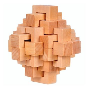 Wood Cube Puzzle Brain Teaser Toy Games for Adults / Kids