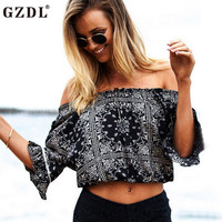 GZDL Vintage Women Blouses Sexy Boho Off Shoulder Slash Neck Floral Print Summer Crop Top Blouse Tee Tops Blusas Feminina CL3007