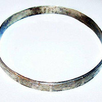 Sterling Silver Bangle Bracelet Signed Aztec Indian Symbols Mexican Jewelry Vintage 1960s