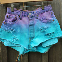 Dyed High Waisted Denim Shorts by lovesarahlivingston on Etsy