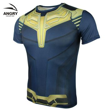 Avengers 3 Thanos 3D Printed T shirts Men Compression Shirt 2018 Cosplay Costume Long Sleeve Tops Male Crossfit Cloth