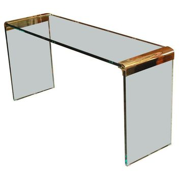 Pre-owned Glass Console Table by Leon Rosen for Pace