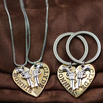 Bonnie & Clyde 2pc Guns Heart Best Friends Forever Pendant Necklaces