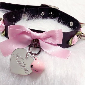 MADE TO ORDER- Black Faux Leather and Baby Pink Rose Spiked Kitten Collar