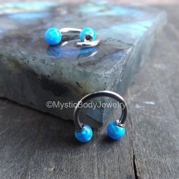 "16g Opal Septum Nose Ring 5/16"" Daith Piercing Tragus Blue Opals Body Jewelry Gems Helix Piercings Conch Horseshoe Silver Earrings Gemstones"