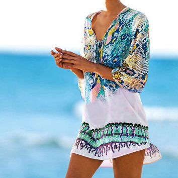 Bathing suit cover ups Kaftan Beach 2018 Beach tunic Beach Cover up Print Snake Robe de Plage Cover up Beach Dress Swimwear