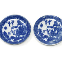 Occupied Japan Blue Transferware, Flo Blue, Ironstone Child's Toy Saucers / Made in Japan Blue Willow Toy Saucer or Plate