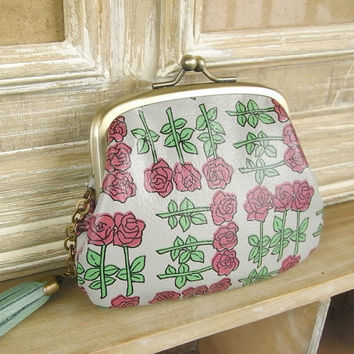leather coin purse - retro rose - pink rose bud, shabby chic, floral pattern, pink and mint, fuschia rose, vintage inspired