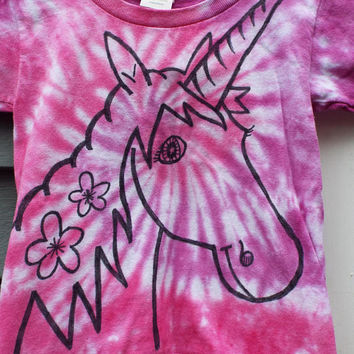 Unicorn Shirt, size 3T, Toddler Girls Unicorn Tee, Unicorn Birthday, Toddler Tie Dye TShirt, Unicorn Lover, Fantasy Shirt, 3 year old girl