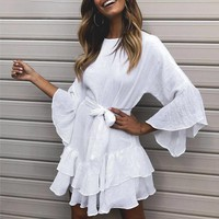 White sashes dress women Bohemian o neck ruffled flare sleeve short dresses Casual soft pink ladies mini vestidos